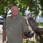 Harold the Hawk & trainer, Evelyn Alexander Wildlife Rescue Center